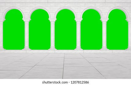 Colonnade in a classic stela isolated on a green background. Beautiful colonnade of white stones in antique style. Colonnade in the Greek style isolated. 3D Illustration