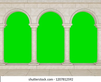 Colonnade in a classic stela isolated on a green background. Beautiful colonnade in antique style. Colonnade in the Greek style isolated. 3D Illustration