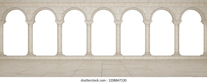 Colonnade in a classic stela isolated on a white background. Beautiful colonnade in antique style. Colonnade in the Greek style isolated. 3D Illustration