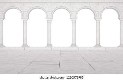Colonnade in a classic stela isolated on a white background. Beautiful colonnade of white stones in antique style. Colonnade in the Greek style isolated. 3D Illustration