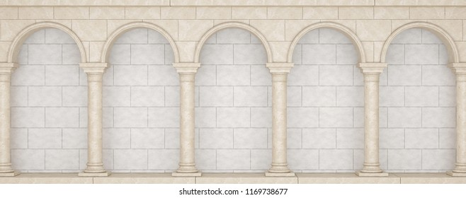Colonnade in classic style.  Colonnade in antique style. Colonnade with arches. 3D Illustration