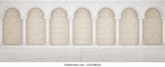 Colonnade in classic style.  Colonnade in Greek style. Colonnade with arches. 3D Illustration