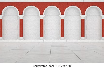 Colonnade in classic style red and white.  Colonnade in Greek style. Colonnade with arches. 3D Illustration