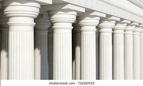Colonnade with daric columns. Public building. Ancient greek temple. 3d rendering.