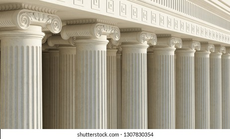 Colonnade with ionic columns. Public building. Ancient greek temple. Pillars of government. 3d rendering. High resolution.
