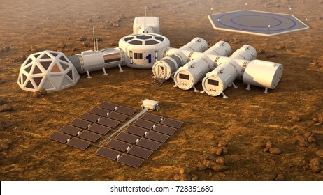 The colony on Mars. 3D illustration