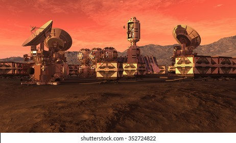 Colony on a Mars like red planet, with crate pods, satellite dishes and a moon on a dusty sky, for planetary and space exploration backgrounds.