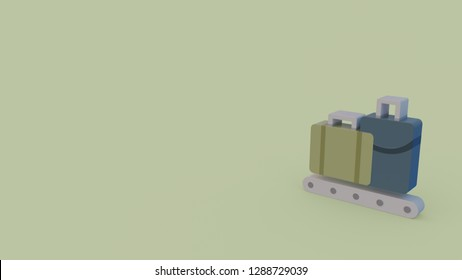 color 3d icon of airport conveyor isolated on light green background