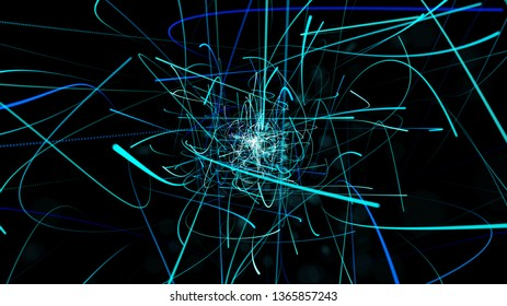 The color of the abstract blue line on a black background is used for the background, freedom of movement.