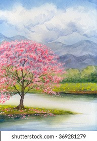 Color beautiful bright watercolour scene in japanese handmade style on paper backdrop with space for text. White cumulus in blue heaven over lush rose flourish peach seedling on mist island on stream