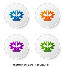 Color Bioengineering icon isolated on white background. Element of genetics and bioengineering icon. Biology, molecule, chemical icon. Set icons in circle buttons