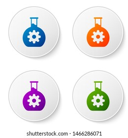 Color Bioengineering icon isolated on white background. Element of genetics and bioengineering icon. Biology, molecule, chemical icon. Set color icon in circle buttons