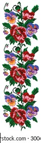 Color  bouquet of flowers (poppies and pansies) using traditional Ukrainian embroidery elements. Border pattern. Can be used as pixel-art.