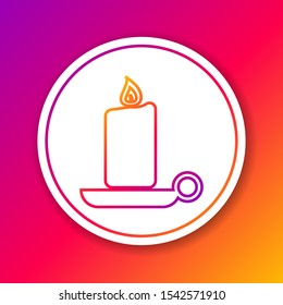 Color Burning candle in candlestick line icon isolated on color background. Old fashioned lit candle. Cylindrical aromatic candle stick with burning flame. Circle white button