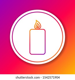 Color Burning candle line icon isolated on color background. Old fashioned lit candle. Cylindrical aromatic candle stick with burning flame. Circle white button