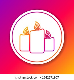 Color Burning candles line icon isolated on color background. Old fashioned lit candles. Cylindrical aromatic candle sticks with burning flames. Circle white button