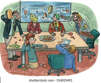 Color business illustration of businesspeople in a meeting room having a food fight.