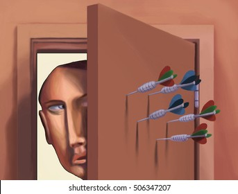 Color business illustration showing a businessman opening a door that has darts in the back of it.