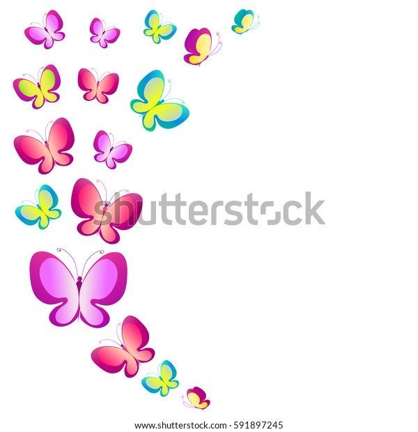 color  butterflies, watercolor, isolated on a white