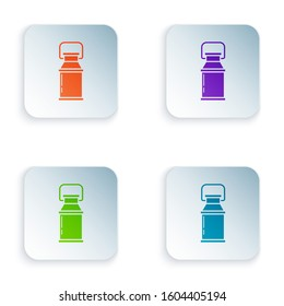 Color Can container for milk icon isolated on white background. Set icons in colorful square buttons.