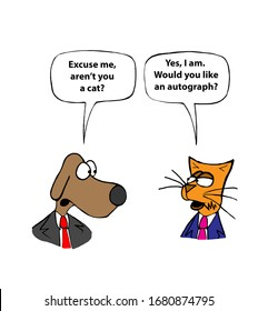 A color cartoon of a dog making a disparaging remark to a cat and the cat responding in a disarming manner.
