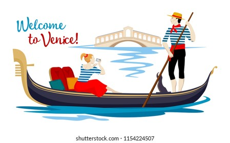 Color cartoon drawing, where young gondolier in a vest and hat drives tourist on a gondola, sitting on a boat and photographing Rialto Bridge on channel in town of Venice. Isolated illustration.
