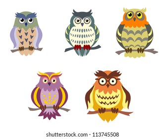 Color cartoon owls set in doodle style for funny design, such a logo. Vector version also available in gallery
