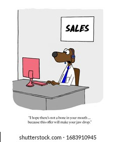 Color cartoon showing a sales dog (man) giving a great price to a client on the phone.