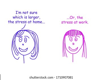Color cartoon showing two women talking about whether the stress is larger at home or at work.