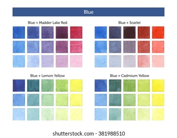 Color chart of blue mixing with others primary colors. - Shutterstock ID 381988510