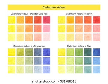 Color chart of Cadmium yellow mixing with others primary colors. - Shutterstock ID 381988513