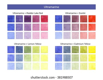 Color chart of Ultramarine mixing with others primary colors. - Shutterstock ID 381988507