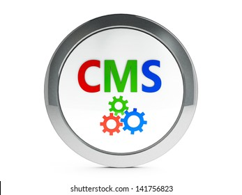 Color CMS emblem isolated on white background, three-dimensional rendering