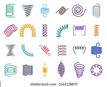 Color coil spirals. Metal coils, flexible wire springs and spiral spring. Vape coils, industrial flexibly absorber steel shrunk spirals equipment. Colorful isolated  icons set
