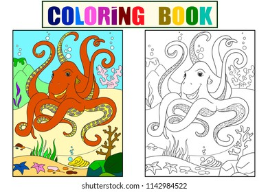Color And Coloring Cartoon Animal Friends In Nature Black Lines White Background Underwater