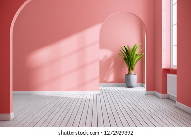 color coral and white empty room interior concept , 3d render