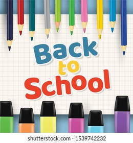 Color crayons background on paper background texture, illustration. Back to school concepts