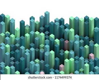 color cubic columns background, 3d illustration
