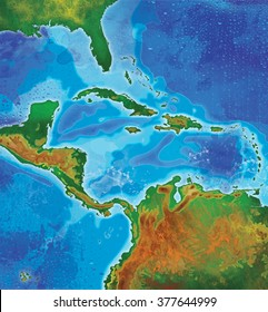 color detailed caribbean islands map