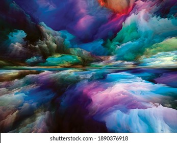 Color Dreams. Landscapes of the Mind series. Interplay of bright paint, motion gradients and surreal mountains and clouds related to life, art, poetry, creativity and imagination