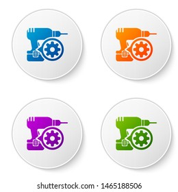 Color Drill machine and gear icon isolated on white background. Adjusting app, service concept, setting options, maintenance, repair, fixing. Set icons in circle buttons
