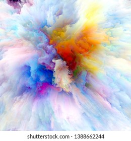 Color Emotion series. Arrangement of color explosion on the subject of imagination, creativity art and design