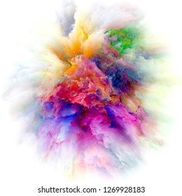 Color Emotion series. Backdrop of color explosion on the subject of imagination, creativity art and design