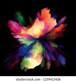 Color Emotion series. Composition of  color burst splash explosion to serve as backdrop for projects on imagination, creativity art and design