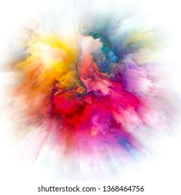 Color Emotion series. Graphic composition of color explosion  for subject of imagination, creativity art and design