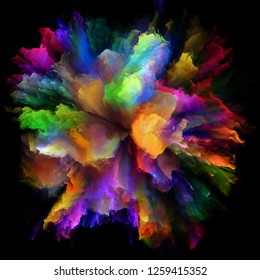 Color Emotion series. Interplay of color burst splash explosion on the subject of imagination, creativity art and design