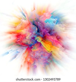 Color Emotion series. Visually attractive backdrop made of color explosion suitable in layouts on imagination, creativity art and design