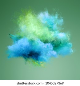 Color explosion of blue and green powder. Freeze motion of powder exploding. Illustration