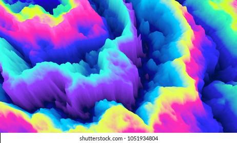 Color explosion. Paint splash. Abstact wallpaper. Multicolor glow. Neon. Fractal. Digital art. Fairy. Futuristic. Surreal texture. 3d illustration. Imagination. Creative.