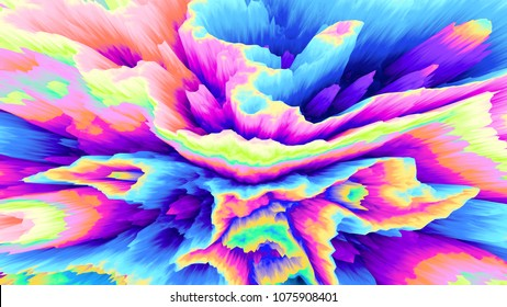 Color explosion. Paint splash. Abstact wallpaper. Multicolor glow. Neon. Fractal. Digital art. Fairy. Color splash. Futuristic. Surreal texture. Corral. Crater. 3d illustration. Imagination. Creative.